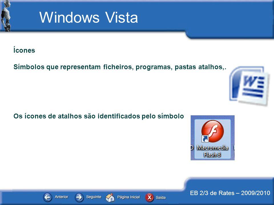 EB 2/3 de Rates – 2009/2010 Ícones Símbolos que representam ficheiros, programas, pastas atalhos,… Os ícones de atalhos são identificados pelo símbolo