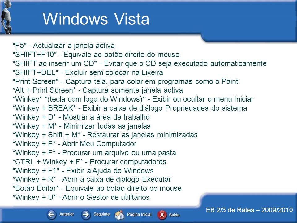 EB 2/3 de Rates – 2009/2010 *F5* - Actualizar a janela activa *SHIFT+F10* - Equivale ao botão direito do mouse *SHIFT ao inserir um CD* - Evitar que o