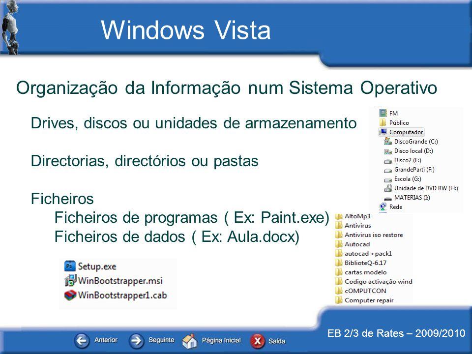EB 2/3 de Rates – 2009/2010 Organização da Informação num Sistema Operativo Drives, discos ou unidades de armazenamento Directorias, directórios ou pa