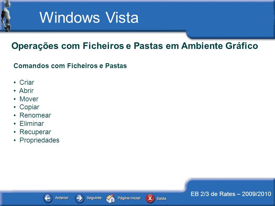 EB 2/3 de Rates – 2009/2010 Windows Vista Operações com Ficheiros e Pastas em Ambiente Gráfico Comandos com Ficheiros e Pastas Criar Abrir Mover Copia