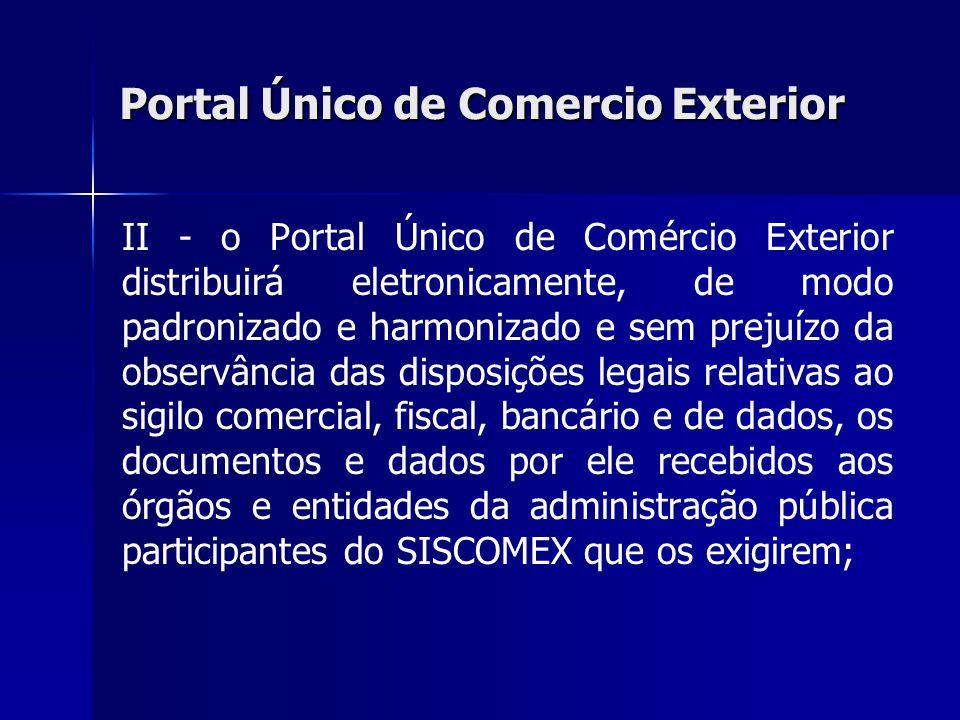 Portal Único de Comercio Exterior II - o Portal Único de Comércio Exterior distribuirá eletronicamente, de modo padronizado e harmonizado e sem prejuí