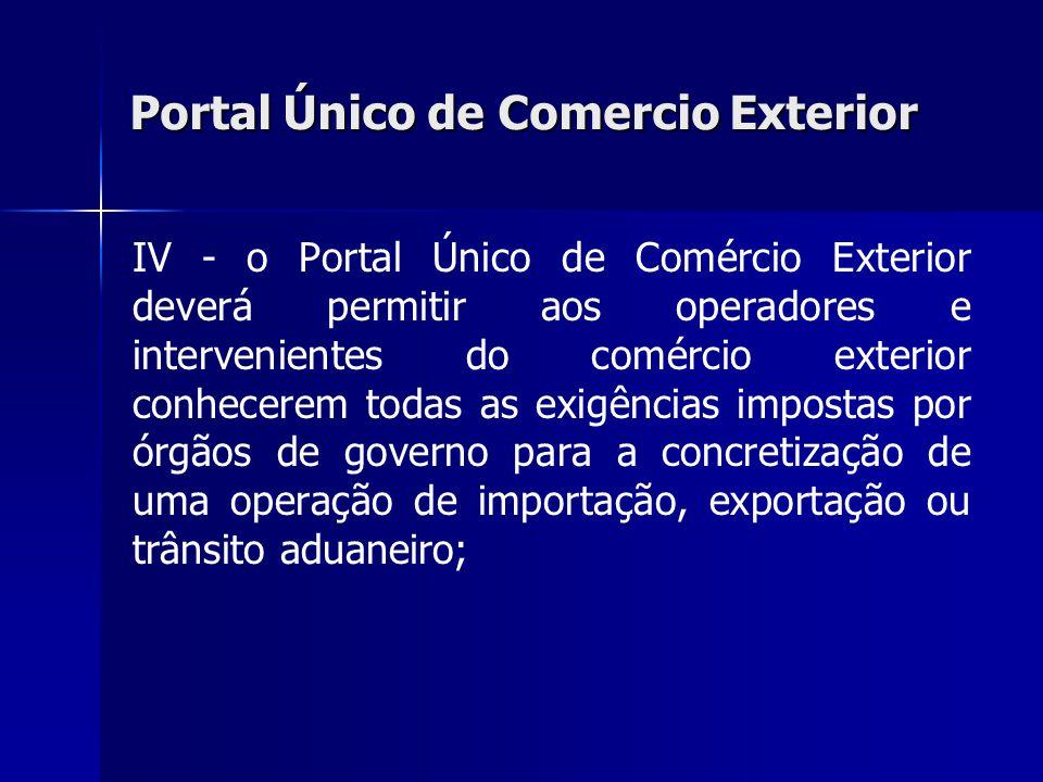 Portal Único de Comercio Exterior IV - o Portal Único de Comércio Exterior deverá permitir aos operadores e intervenientes do comércio exterior conhec