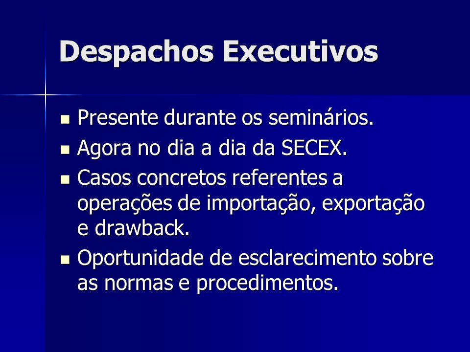 Despachos Executivos Presente durante os seminários. Presente durante os seminários. Agora no dia a dia da SECEX. Agora no dia a dia da SECEX. Casos c