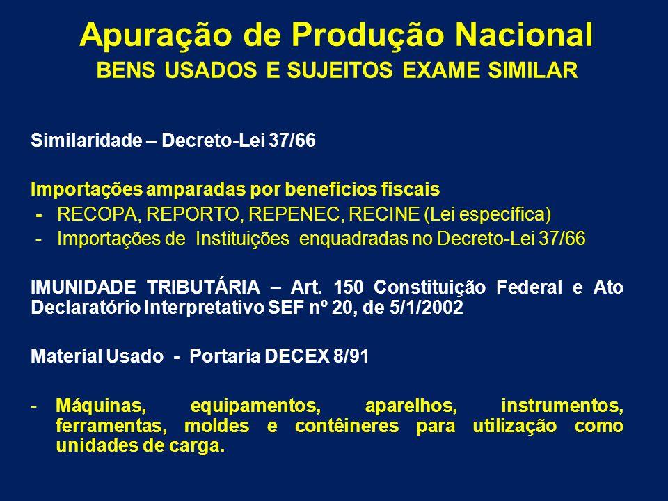 Similaridade – Decreto-Lei 37/66 Importações amparadas por benefícios fiscais - RECOPA, REPORTO, REPENEC, RECINE (Lei específica) - Importações de Ins