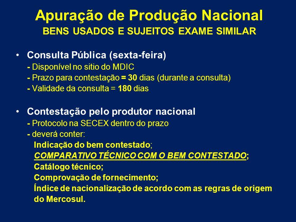 Consulta Pública (sexta-feira) - Disponível no sitio do MDIC - Prazo para contestação = 30 dias (durante a consulta) - Validade da consulta = 180 dias