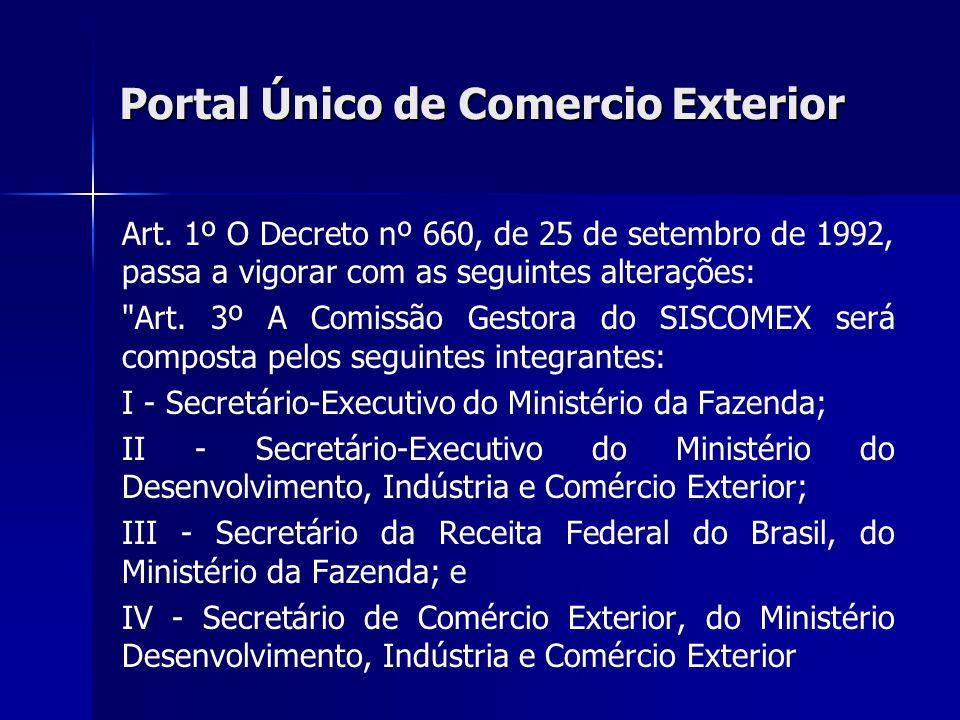Portal Único de Comercio Exterior Art. 1º O Decreto nº 660, de 25 de setembro de 1992, passa a vigorar com as seguintes alterações: