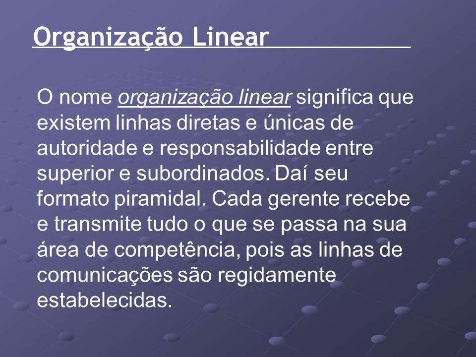 Organização Linear O nome organização linear significa que existem linhas diretas e únicas de autoridade e responsabilidade entre superior e subordina