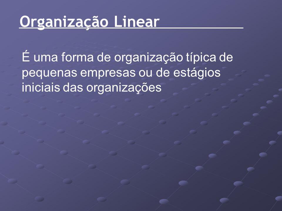 Organização Linear É uma forma de organização típica de pequenas empresas ou de estágios iniciais das organizações