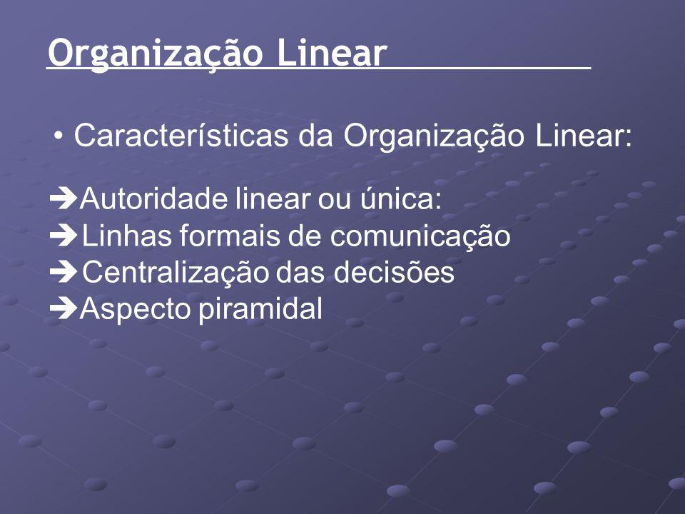 Organização Linear Características da Organização Linear: Autoridade linear ou única: Linhas formais de comunicação Centralização das decisões Aspecto