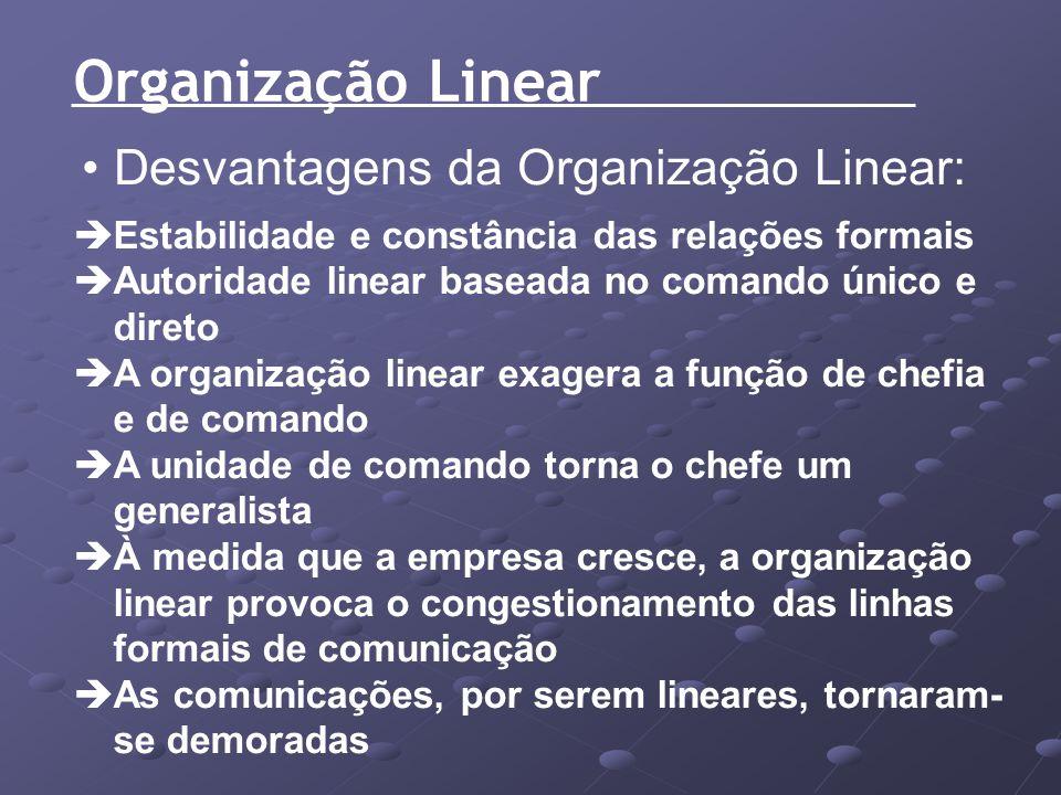 Organização Linear Desvantagens da Organização Linear: Estabilidade e constância das relações formais Autoridade linear baseada no comando único e dir