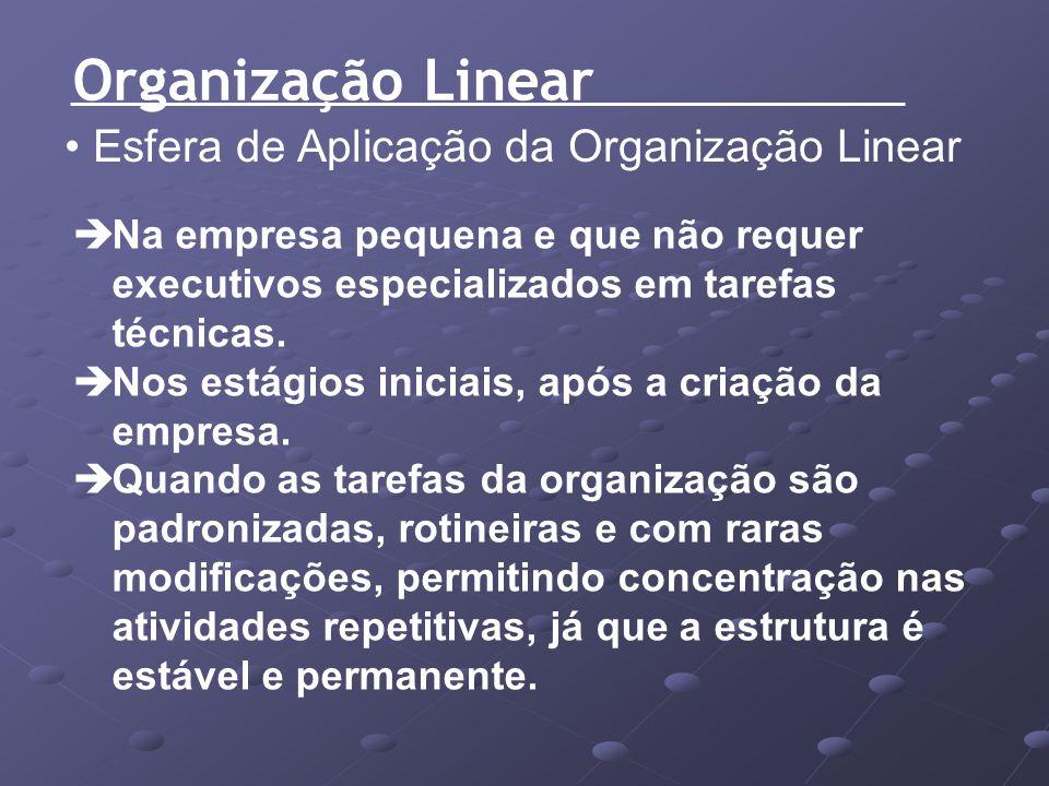 Organização Linear Esfera de Aplicação da Organização Linear Na empresa pequena e que não requer executivos especializados em tarefas técnicas. Nos es