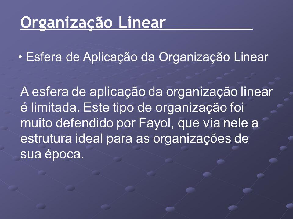 Organização Linear Esfera de Aplicação da Organização Linear A esfera de aplicação da organização linear é limitada. Este tipo de organização foi muit
