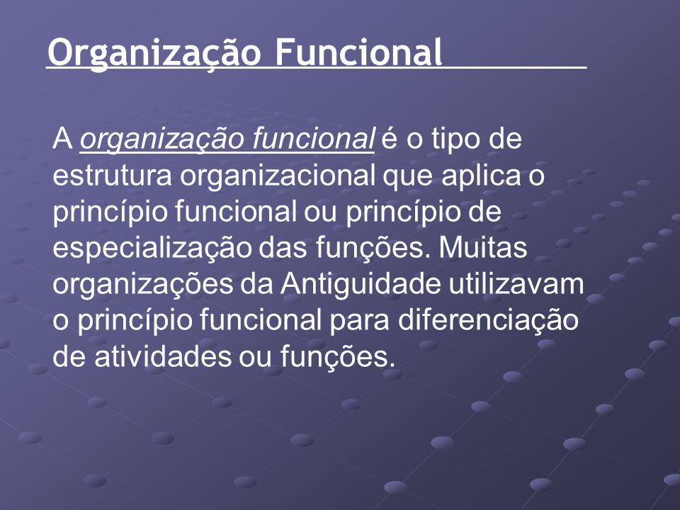 Organização Funcional A organização funcional é o tipo de estrutura organizacional que aplica o princípio funcional ou princípio de especialização das