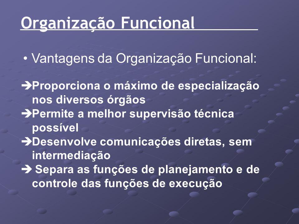 Organização Funcional Vantagens da Organização Funcional: Proporciona o máximo de especialização nos diversos órgãos Permite a melhor supervisão técni