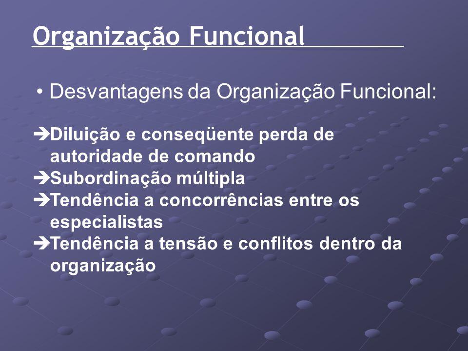 Organização Funcional Desvantagens da Organização Funcional: Diluição e conseqüente perda de autoridade de comando Subordinação múltipla Tendência a c
