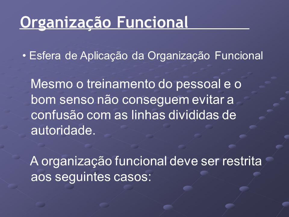 Organização Funcional Esfera de Aplicação da Organização Funcional Mesmo o treinamento do pessoal e o bom senso não conseguem evitar a confusão com as