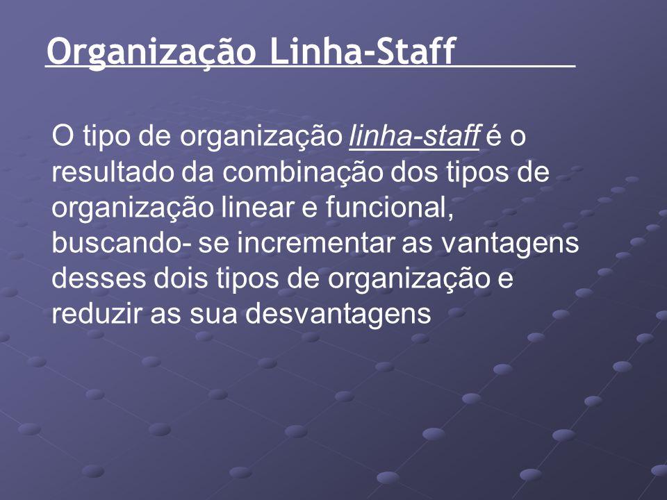 Organização Linha-Staff O tipo de organização linha-staff é o resultado da combinação dos tipos de organização linear e funcional, buscando- se increm