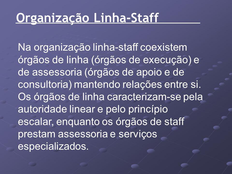 Organização Linha-Staff Na organização linha-staff coexistem órgãos de linha (órgãos de execução) e de assessoria (órgãos de apoio e de consultoria) m