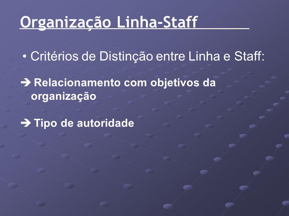 Organização Linha-Staff Critérios de Distinção entre Linha e Staff: Relacionamento com objetivos da organização Tipo de autoridade
