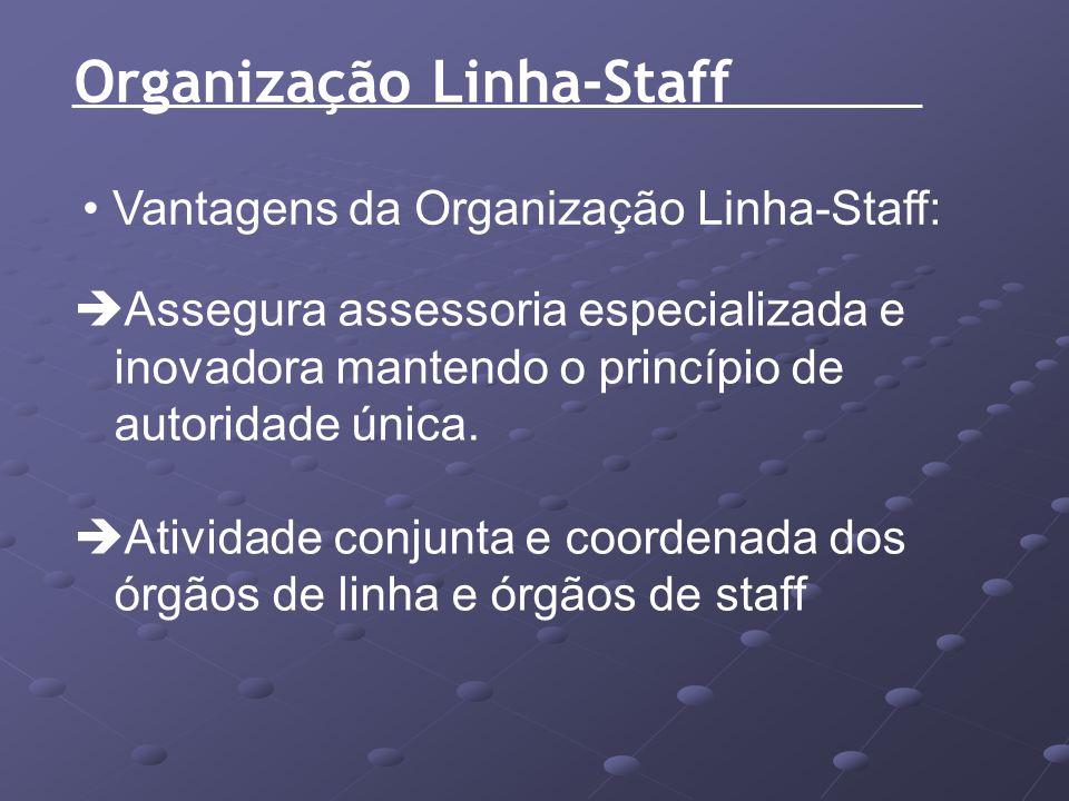 Organização Linha-Staff Vantagens da Organização Linha-Staff: Assegura assessoria especializada e inovadora mantendo o princípio de autoridade única.