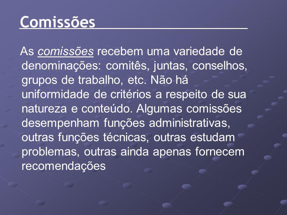 As comissões recebem uma variedade de denominações: comitês, juntas, conselhos, grupos de trabalho, etc. Não há uniformidade de critérios a respeito d