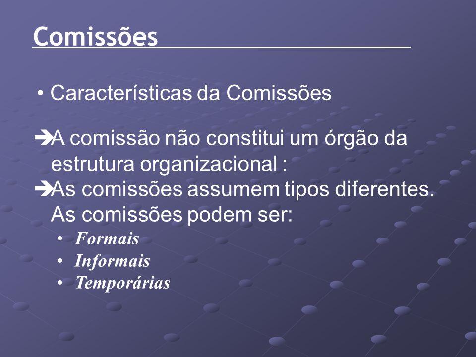 Características da Comissões A comissão não constitui um órgão da estrutura organizacional : As comissões assumem tipos diferentes. As comissões podem
