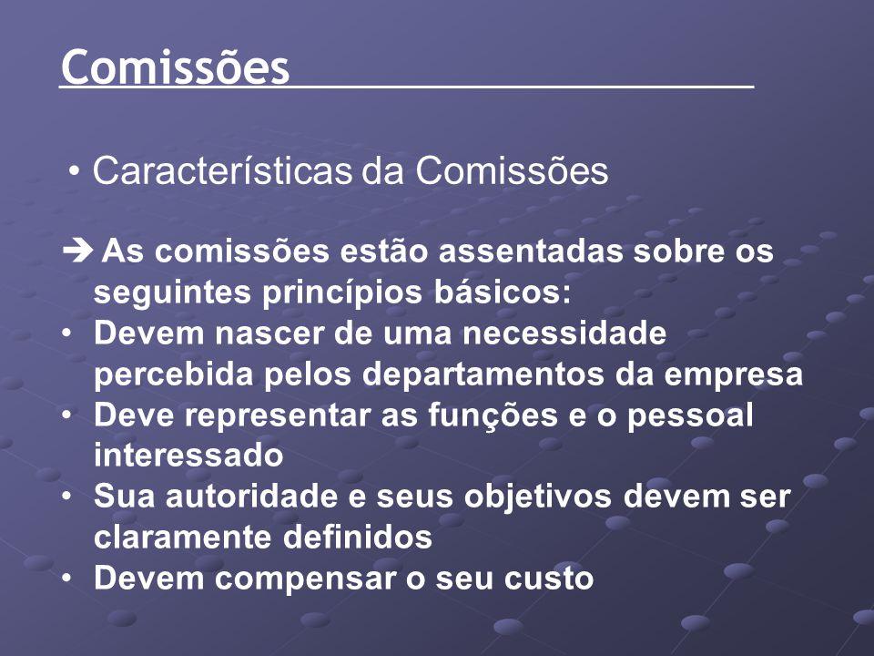 Características da Comissões As comissões estão assentadas sobre os seguintes princípios básicos: Devem nascer de uma necessidade percebida pelos depa