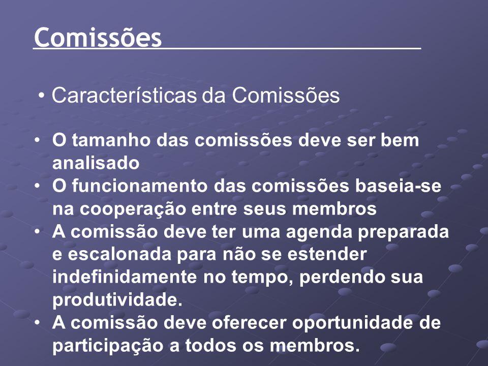 Características da Comissões O tamanho das comissões deve ser bem analisado O funcionamento das comissões baseia-se na cooperação entre seus membros A
