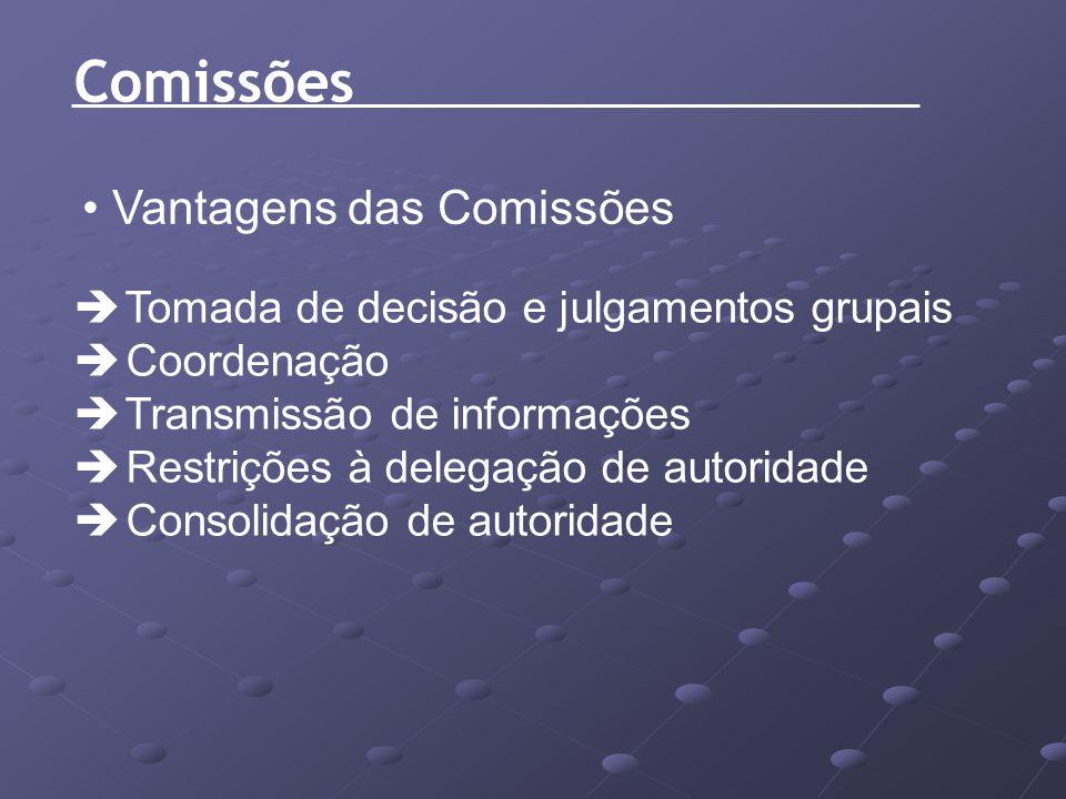 Vantagens das Comissões Tomada de decisão e julgamentos grupais Coordenação Transmissão de informações Restrições à delegação de autoridade Consolidaç