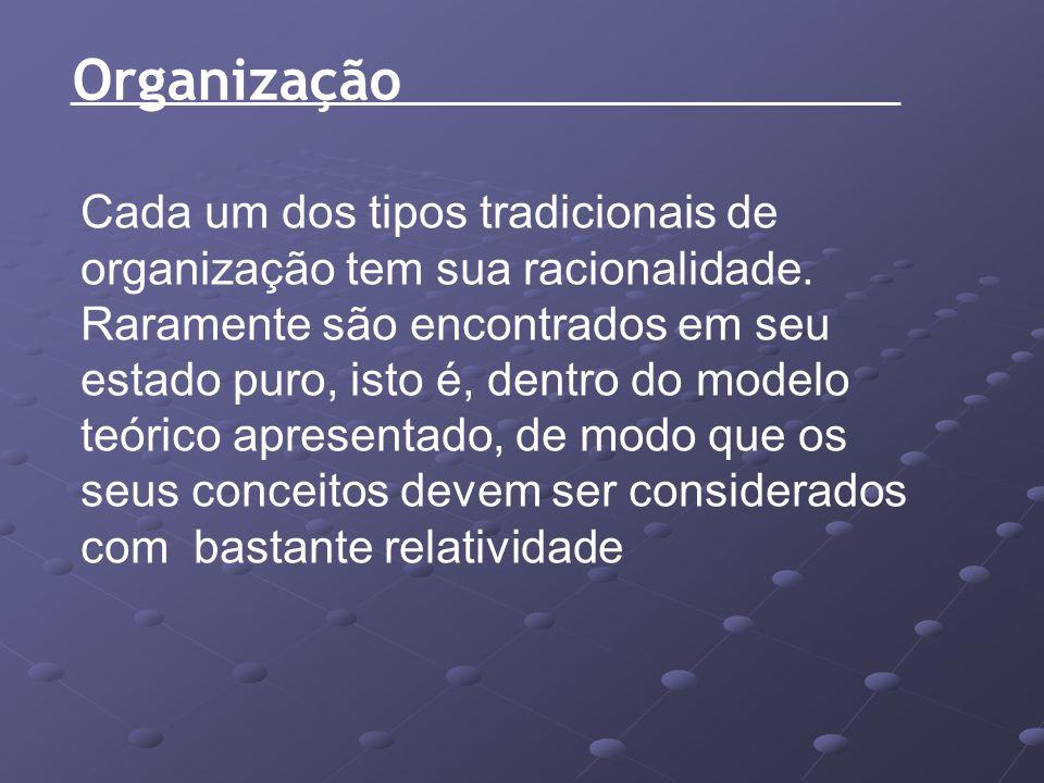 Organização Cada um dos tipos tradicionais de organização tem sua racionalidade. Raramente são encontrados em seu estado puro, isto é, dentro do model