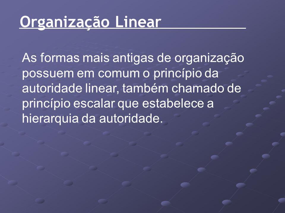 Organização Linear As formas mais antigas de organização possuem em comum o princípio da autoridade linear, também chamado de princípio escalar que es