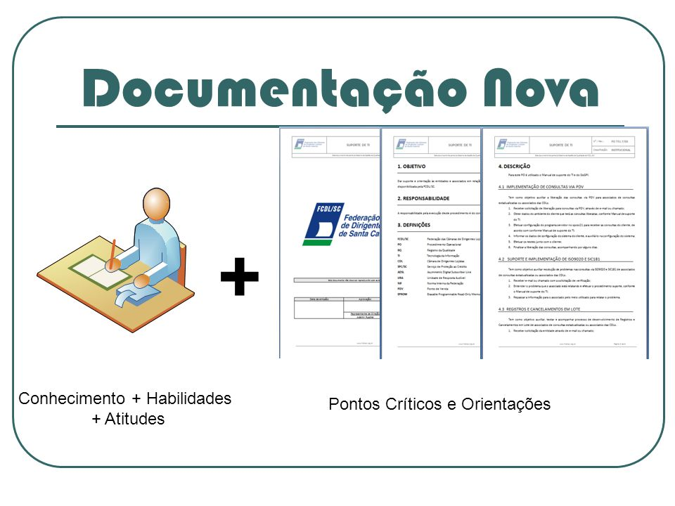 Documentação Nova + Conhecimento + Habilidades + Atitudes Pontos Críticos e Orientações
