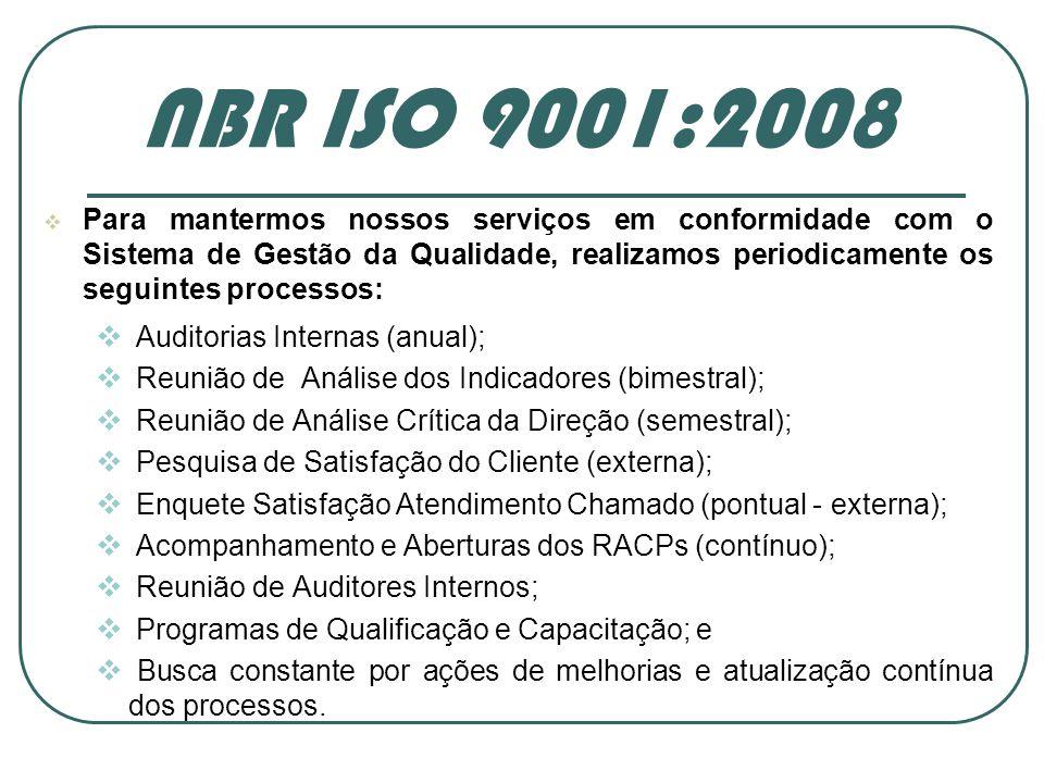 Para mantermos nossos serviços em conformidade com o Sistema de Gestão da Qualidade, realizamos periodicamente os seguintes processos: Auditorias Inte