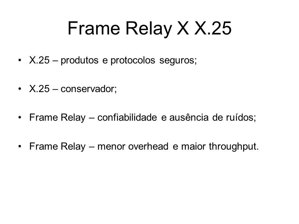 Frame Relay X X.25 X.25 – produtos e protocolos seguros; X.25 – conservador; Frame Relay – confiabilidade e ausência de ruídos; Frame Relay – menor overhead e maior throughput.