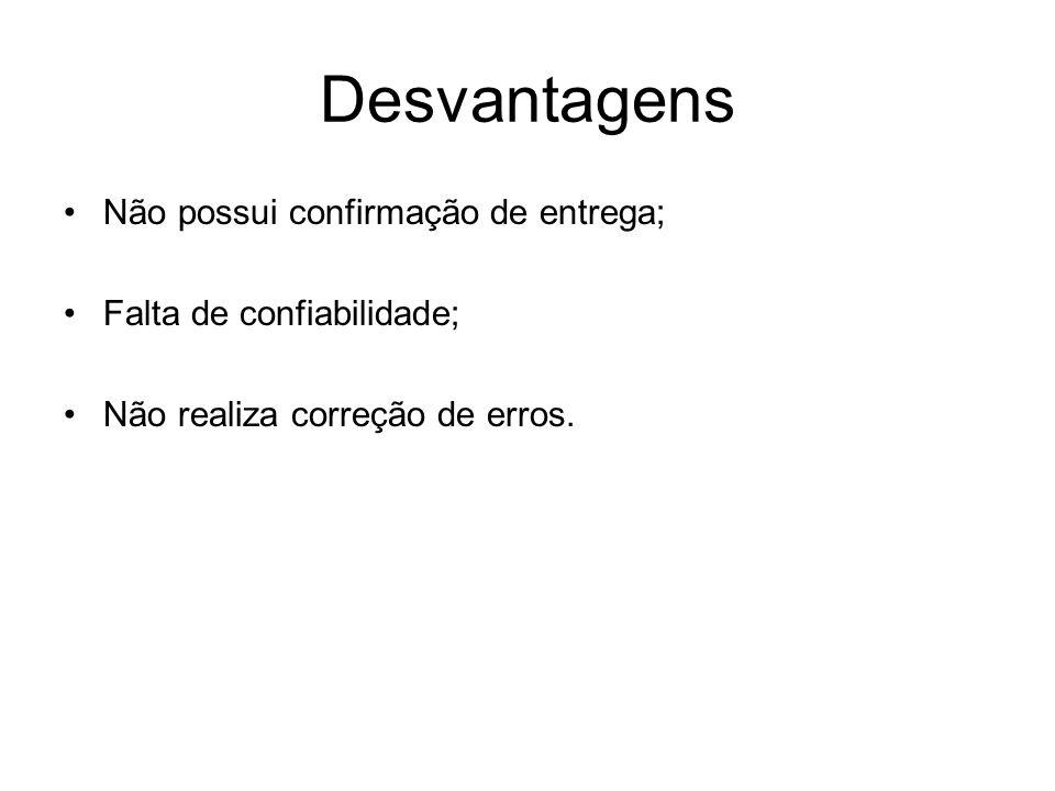 Desvantagens Não possui confirmação de entrega; Falta de confiabilidade; Não realiza correção de erros.