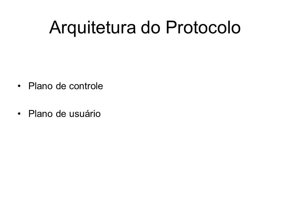 Arquitetura do Protocolo Plano de controle Plano de usuário