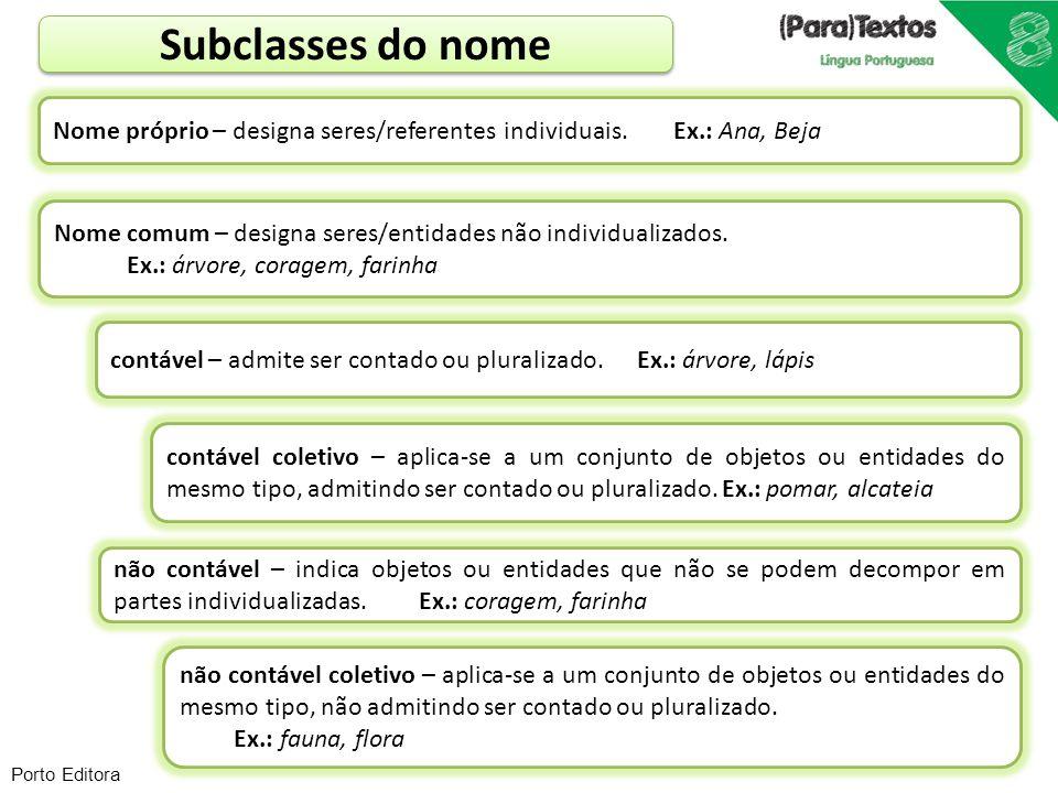Porto Editora Subclasses do nome Nome próprio – designa seres/referentes individuais. Ex.: Ana, Beja Nome comum – designa seres/entidades não individu