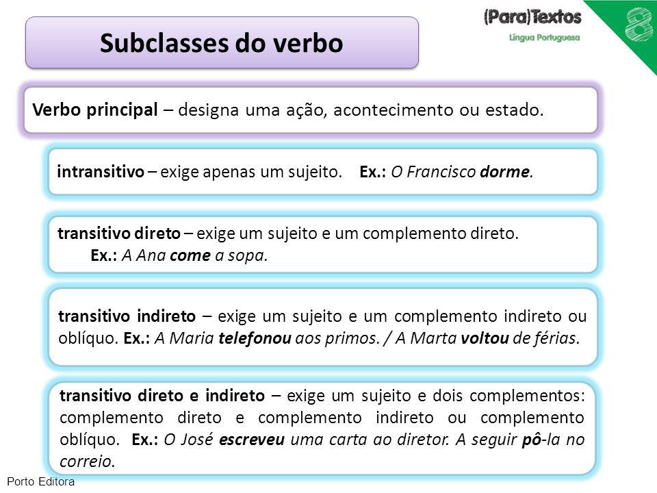 Porto Editora Subclasses do verbo Verbo principal – designa uma ação, acontecimento ou estado. transitivo indireto – exige um sujeito e um complemento