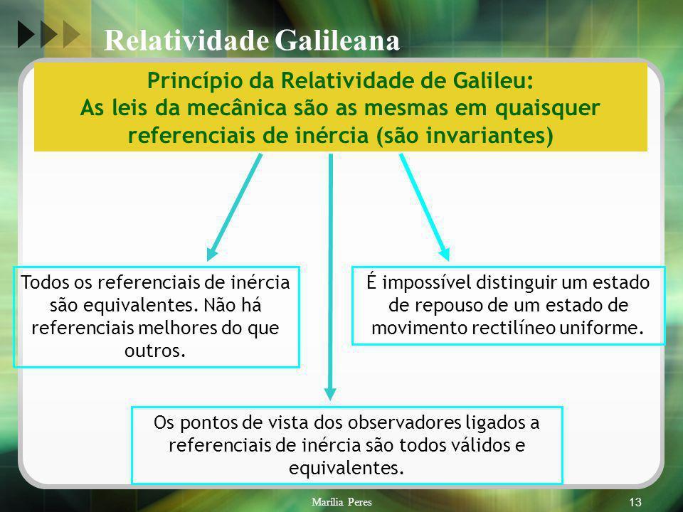 Marília Peres13 Todos os referenciais de inércia são equivalentes. Não há referenciais melhores do que outros. Princípio da Relatividade de Galileu: A