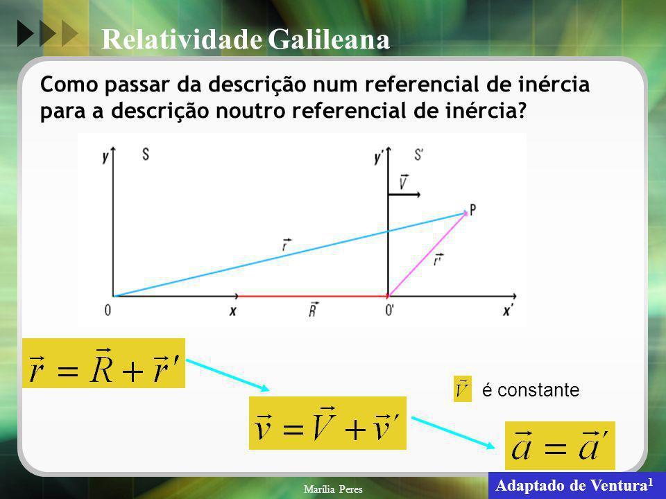 Marília Peres16 Como passar da descrição num referencial de inércia para a descrição noutro referencial de inércia? é constante Adaptado de Ventura 1