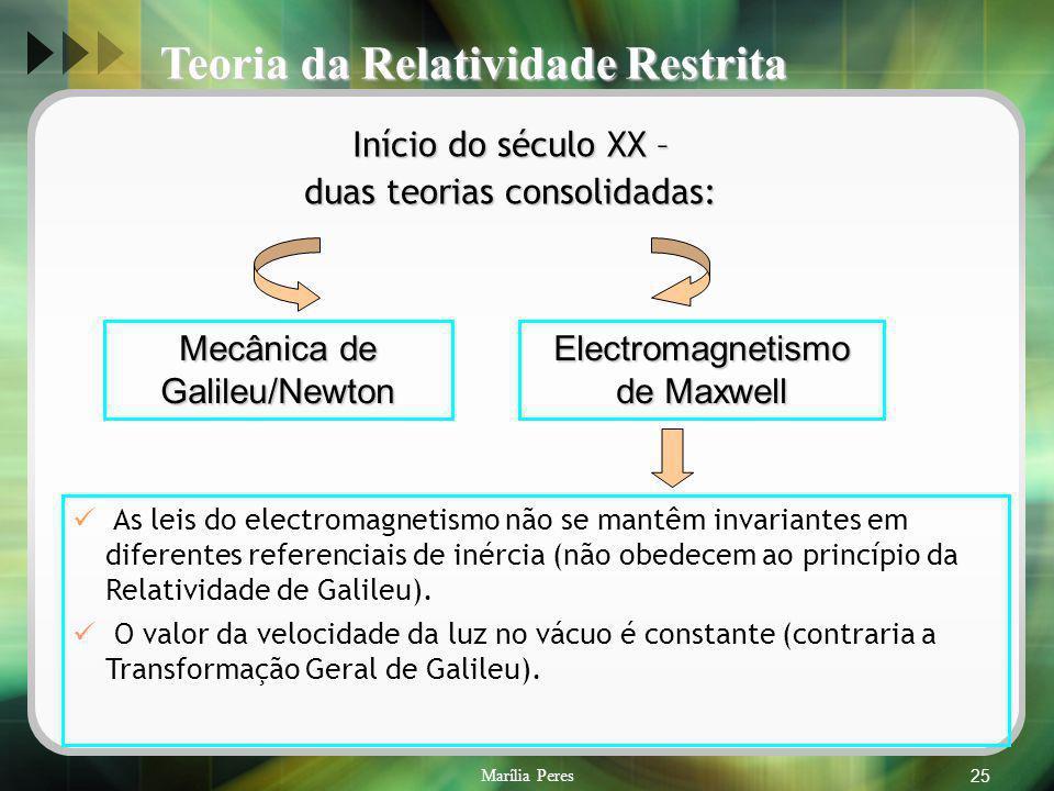 Marília Peres25 Início do século XX – duas teorias consolidadas: Mecânica de Galileu/Newton Electromagnetismo de Maxwell As leis do electromagnetismo