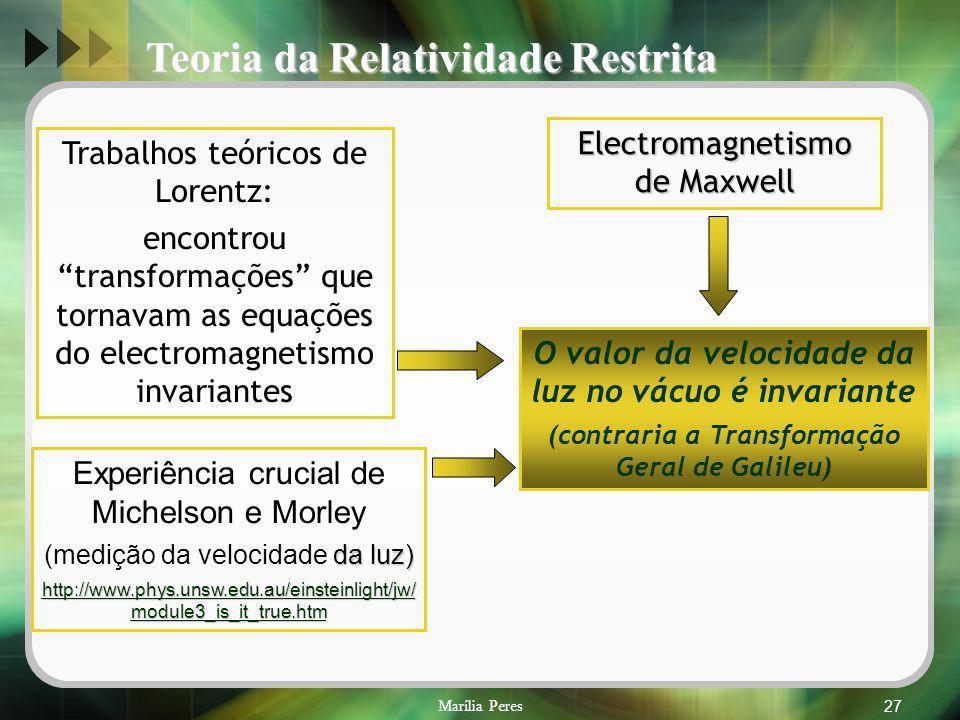 Marília Peres27 Electromagnetismo de Maxwell Trabalhos teóricos de Lorentz: encontrou transformações que tornavam as equações do electromagnetismo inv
