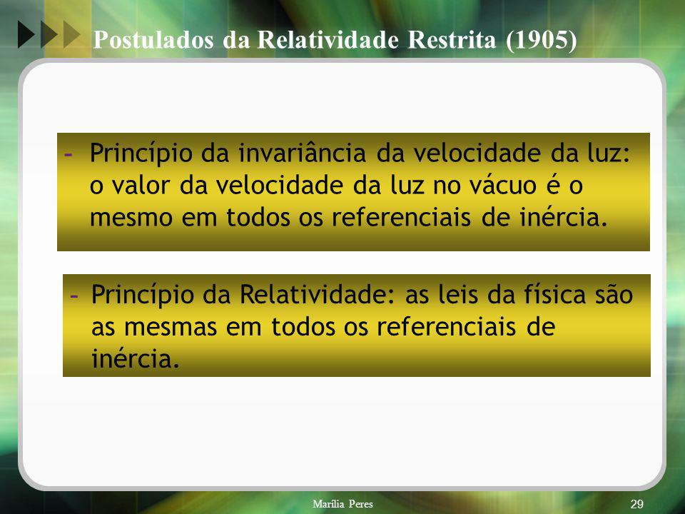 Marília Peres29 Postulados da Relatividade Restrita (1905) - Princípio da invariância da velocidade da luz: o valor da velocidade da luz no vácuo é o