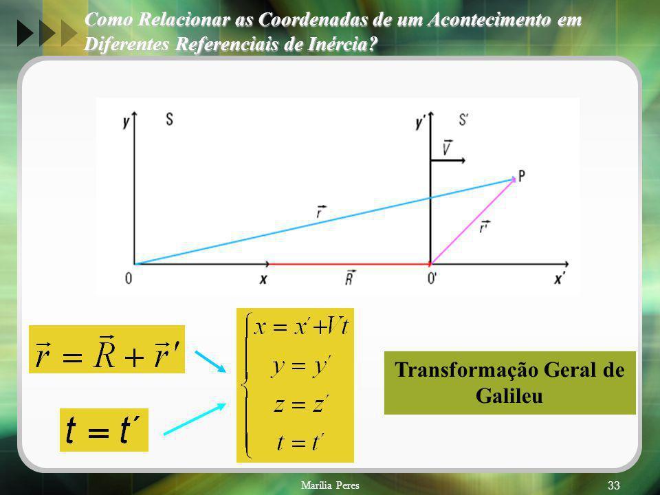 Marília Peres33 Transformação Geral de Galileu Como Relacionar as Coordenadas de um Acontecimento em Diferentes Referenciais de Inércia?