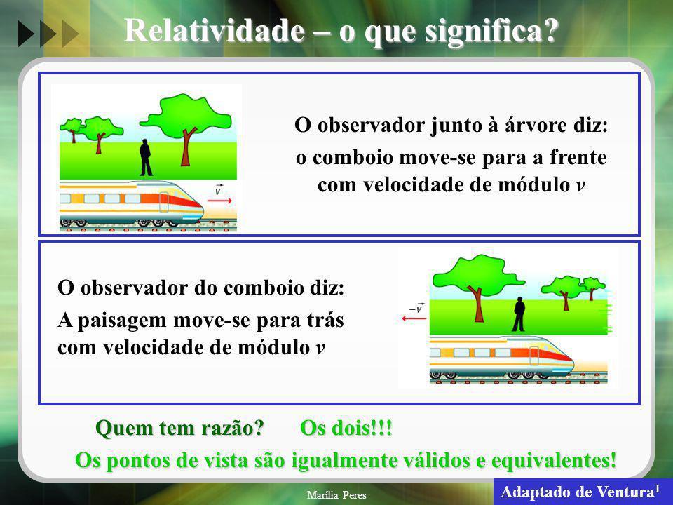 Marília Peres5 Relatividade – o que significa? O observador junto à árvore diz: o comboio move-se para a frente com velocidade de módulo v O observado