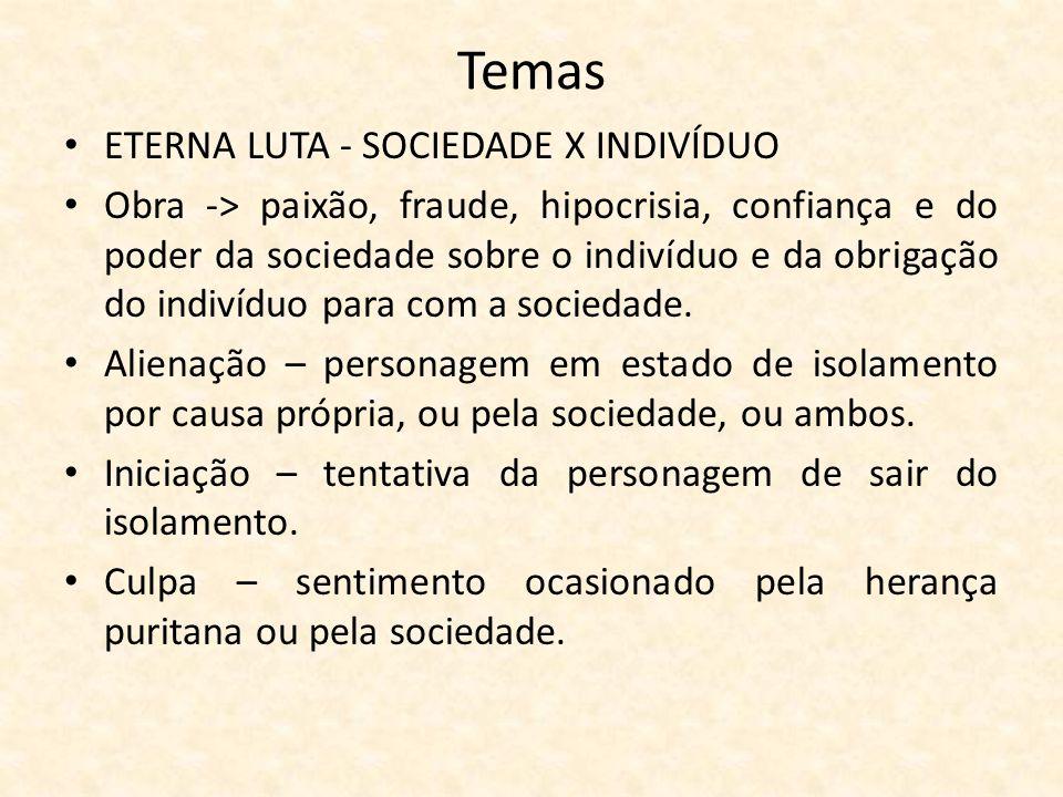 ETERNA LUTA - SOCIEDADE X INDIVÍDUO Obra -> paixão, fraude, hipocrisia, confiança e do poder da sociedade sobre o indivíduo e da obrigação do indivíduo para com a sociedade.