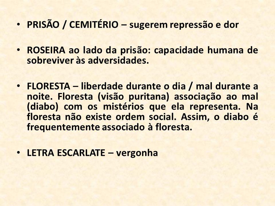 PRISÃO / CEMITÉRIO – sugerem repressão e dor ROSEIRA ao lado da prisão: capacidade humana de sobreviver às adversidades. FLORESTA – liberdade durante