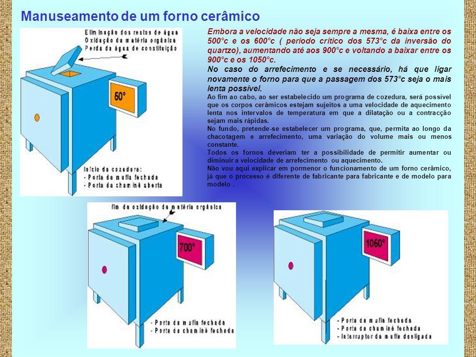 7 Manuseamento de um forno cerâmico Embora a velocidade não seja sempre a mesma, é baixa entre os 500°c e os 600°c ( período crítico dos 573°c da inve