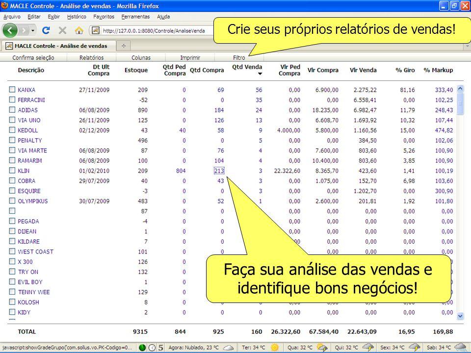 Faça sua análise das vendas e identifique bons negócios! Crie seus próprios relatórios de vendas!