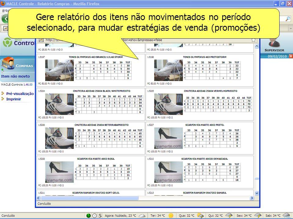 Gere relatório dos itens não movimentados no período selecionado, para mudar estratégias de venda (promoções)